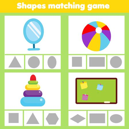 Matching children educational game. Match real objects with geometric shapes. Learning forms activity for kids and toddlers. Triangle, rectangle, circle, ellipse Иллюстрация