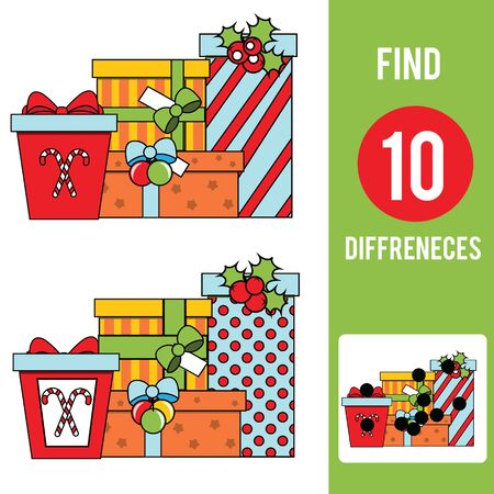 Christmas gifts. Find the differences educational children game. Kids activity fun page. New Year holidays theme. Иллюстрация