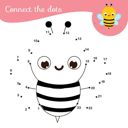 Connect the dots. Dot to dot by numbers activity for kids and toddlers. Children educational game. Insect series, Cute bee