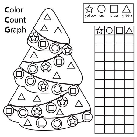 Color, count and graph. Educational children game. Color Christmas spruce tree and counting shapes. Printable worksheet for kids and toddlers. New Year holidays printable fun Иллюстрация