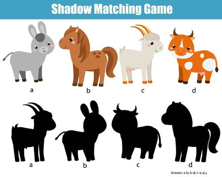 Shadow matching game for children. Find the right shadow for farm animals. Donkey, horse, goat, cow. fun activity for kids Иллюстрация