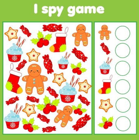 I spy game. Find and count. Christmas and new year holidays theme activity for kids, toddlers. Educational page for children