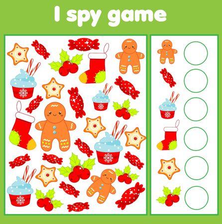 J'espionne le jeu. Trouvez et comptez. Activité sur le thème des vacances de Noël et du nouvel an pour les enfants, les tout-petits. Page éducative pour les enfants