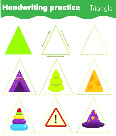 Triangle form objects. Handwriting practice. geometric shapes for kids. Educational worksheet for children and toddlers