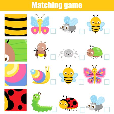 Matching game. Educational children activity with cartoon insects. Match patern and objects