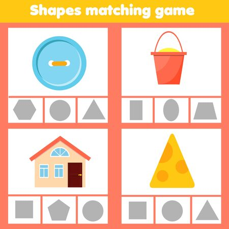 Matching children educational game. Match objects with shapes. Learning forms activity for kids and toddlers. Иллюстрация