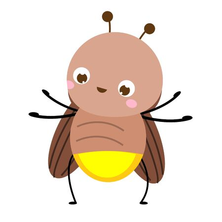 Cartoon firefly. Cute glowworm insect character. Vector illustration, clip art 일러스트