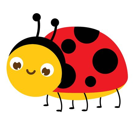 Cartoon ladybug. Cute ladybird insect character. Vector illustration, clip art 일러스트