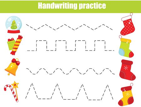 Put gifts in Christmas stockings. handwriting practice sheet. Educational children game. Preschool Tracing for kids and toddlers. New year holidays theme Иллюстрация
