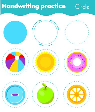 Circle form objects. Handwriting practice. geometric shapes for kids. Educational worksheet for children and toddlers Stok Fotoğraf - 131883724