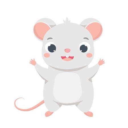 Cartoon mouse. Cute rat character. isolated vector clip art Ilustracja