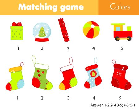 Matching children educational game. Match by color. Put gifts into socks. Christmas and New year holidays theme activity for kids and toddlers