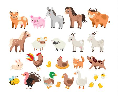Cute farm. Big set of cartoon farm animals and pets for kids and children. Cow, horse, pig and many other domestic creatures Foto de archivo - 134400821