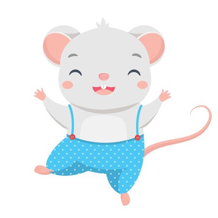 Cartoon mouse dance. Little Cute rat happy character