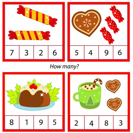 Counting educational children game. Study math, numbers, addition for preschool. Christmas theme kids mathematics activity