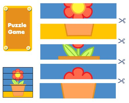 Flower and pot. Puzzle for toddlers. Match pieces and complete the picture. Educational children game, kids sctivity page