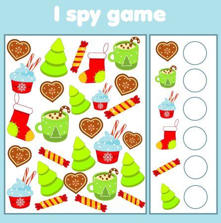 J'espionne le jeu. Trouvez et comptez. Activité sur le thème des vacances de Noël et du nouvel an pour les enfants, les tout-petits. Page éducative pour les enfants Vecteurs