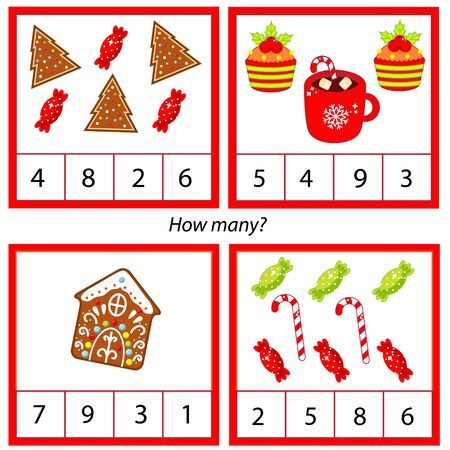 Counting educational children game, kids activity sheet. How many objects. Learning mathematics, numbers, addition. new year and christmas holidays theme. Ilustracje wektorowe