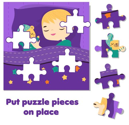 Jigsaw puzzle for toddlers. Match pieces and complete picture. sleeping boy. Educational game for children and kids.