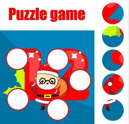 Santa Claus puzzle for toddlers. Find missing part of picture. New year and Christmas theme educational game for children and kids. Ilustração