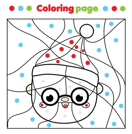 Santa Claus coloring page. Daddy Frost Color by dots, printable activity for kids. Children educational game New Year and Christmas holidays theme Ilustração