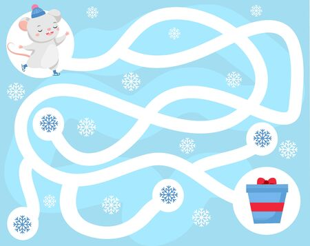 Maze puzzle. Help mouse find gift. Activity for kids. educational children game. Winter holidays theme worksheet