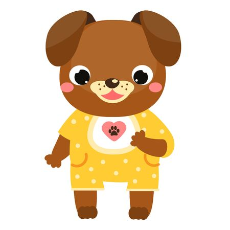 Cute dog. Cartoon puppy in jumpsuit. Friendly animal character for kids and children