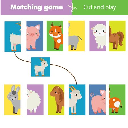 Matching children educational game. Match parts of farm animals. Learning symmetry for kids and toddlers