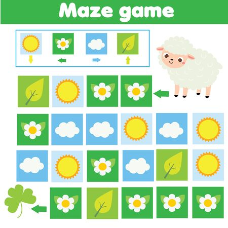 Animals theme activity. Maze game. Labyrinth with navigation. Help sheep find grass. learning left, right, up and down