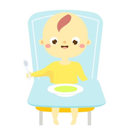 baby sit on high chair and eat. toddler have food. Child, little kid with spoon and plate Иллюстрация