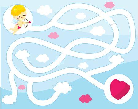 Maze puzzle for children. Help Cupid find heart. Kids activity sheet St Valentines day theme worksheet