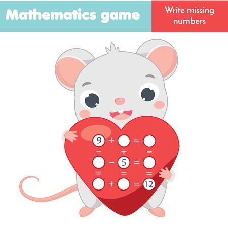 Mathe-Lernspiel für Kinder. Schreibe fehlende Zahlen und vervollständige Gleichungen. Subtraktion und Addition studieren. Arbeitsblatt Mathematik für Kinder Vektorgrafik