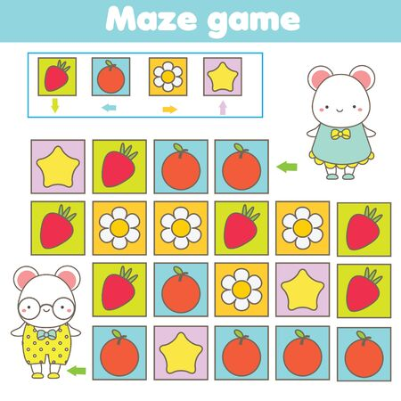 Maze game. Labyrinth with navigation. Help cute animals find each other. learning left, right, up and down. Educational page for kids.