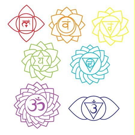Seven chakras linear icons. Kundalini yoga symbols, spiritual signs. Vector set. Illustration