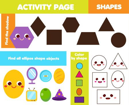 learning geometric shapes page for kids. Simple Forms Children game set. Eaducational fun for toddlers and pre school age