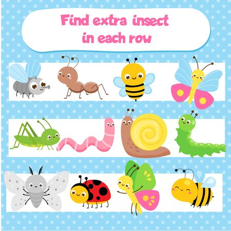 Educational children game for kids and toddlers. What does not fit logic game. Find odd one, extra object. Insect theme. Learning insects Vektoros illusztráció