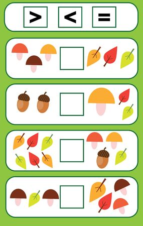 Mathematics educational game for children. counting kids activity. Complete the mathematical equation. choose more, less or equal Ilustração