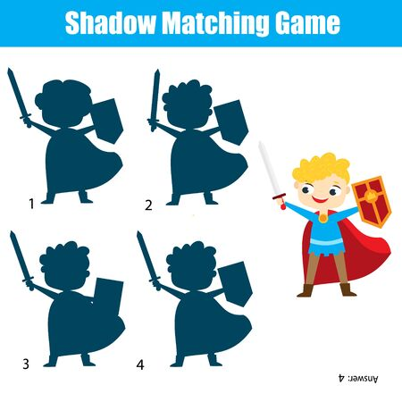 Shadow matching game for children. Find the right shadow for kinght character 向量圖像