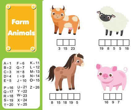 Complete the words using cipher code. Children educational game. Learning farm animals, vocabulary and numbers for kids