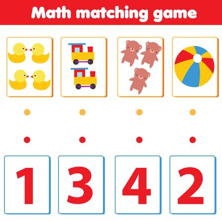 Mathematics educational game. Match objects with numbers for children. Count toys for pre school kids and toddlers