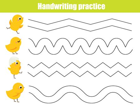 Funny yellow chickens.. Handwriting practice sheet. Educational children game. Tracing lines for kids and toddlers