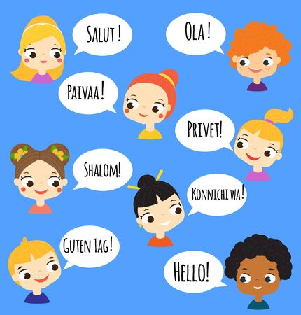 cartoon children speaking different languages. Boys and girls of world ethnicity talking. kids saying hello in their native language
