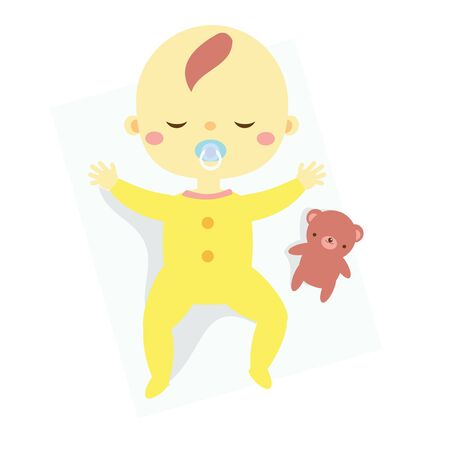 baby sleep. toddler have rest. Newborn child, Little kid dreaming with toy teddy bear Çizim