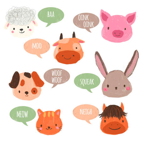 Educational card for kids and children with popular animal sounds. Archivio Fotografico
