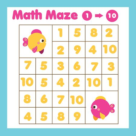 Educational children game. Mathematics maze. Labyrinth with numbers from one to ten. Help fish find each other. Activity for kids Illusztráció