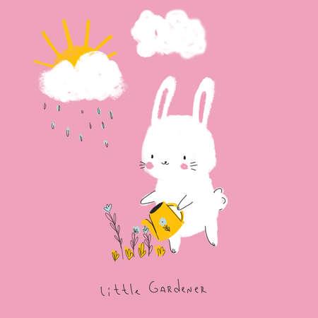Cute fluffy rabbit watering flowers. 免版税图像