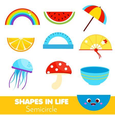 Formen im Leben. Halbkreis. Lernkarten für Kinder. Pädagogische Infografik für Kinder und Kleinkinder. Studieren Sie geometrische Formen. Sehhilfe
