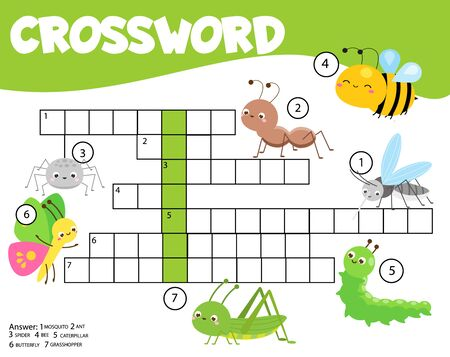 Insects crossword for kids and toddlers. Elf sitting in Santa sleigh with gifts. Educational game for children. Illustration