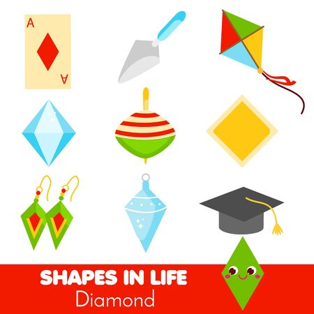 Shapes in life. Diamond, rhombus. Learning cards for kids. Educational infographic for children and toddlers. Study geometric shapes. Visual aid