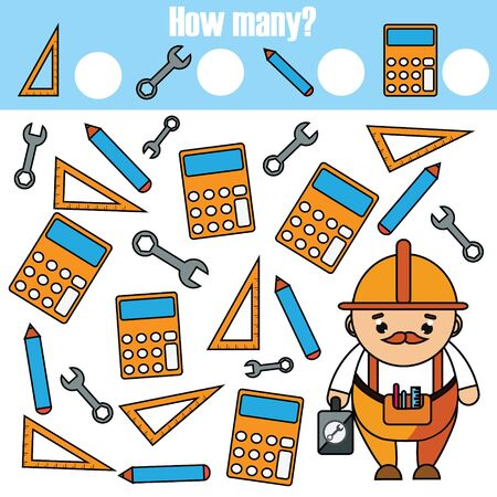 Mathematics educational children game. Study counting, numbers, addition. help worker count tools.